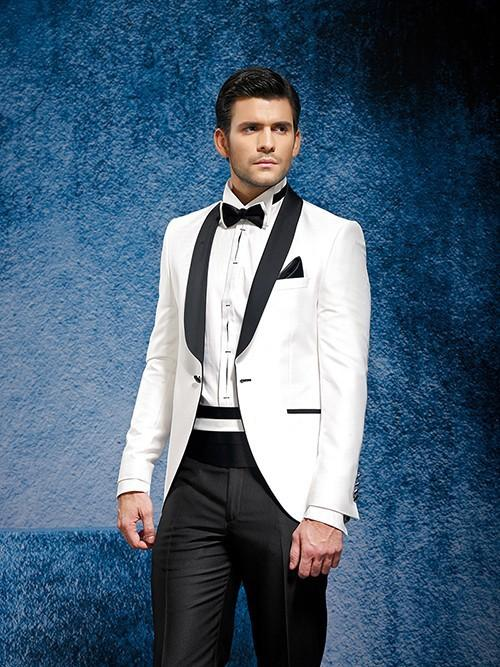 White Wedding Suits For Men Black Shawl Lapel Grooms Tuxedos Two ...
