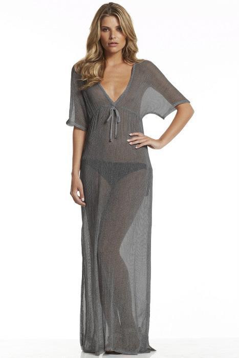 Women Beach Summer Holidays Floor Length Sexy Sheer Dress Casual V ...