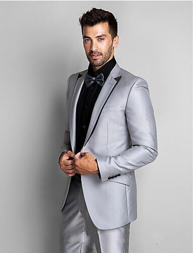New Style Groom Tuxedos Silver Grey Best Man Suit Peak Lapel