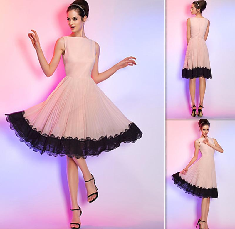 Knee Length Cocktail Dresses Light Pink Chiffon Black Lace Bottom ...