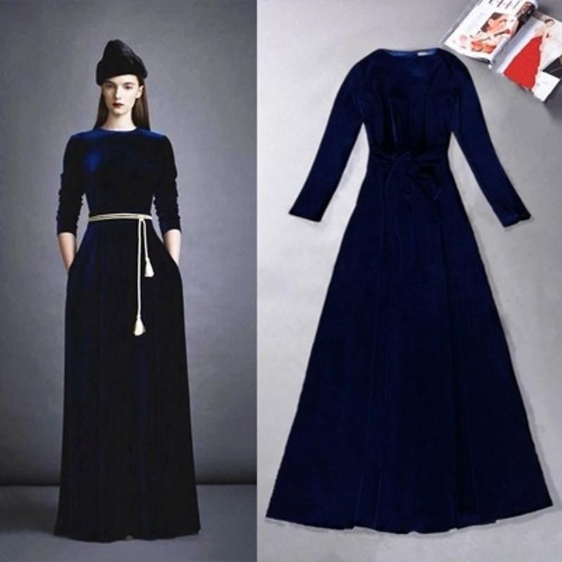 2016 Latest Fashion Black Blue Velvet Women Evening Dresses In ...