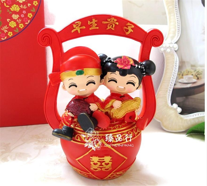 Wedding Gifts For Chinese Couples : new Chinese traditional style 18cm Couple bride & groom Figurine Resin ...
