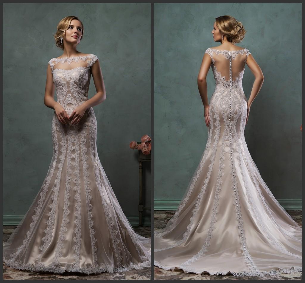 Trumpet Mimi Wedding Dresses Sleeveless Sheer Bateau Neckline Cap Sleeves Mermaid Bridal Gowns