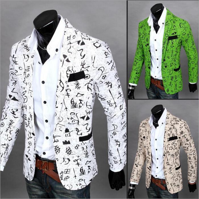 2016 New Casual Floral Oracle Print Blazer Men Slim Fit Jacket Men ...