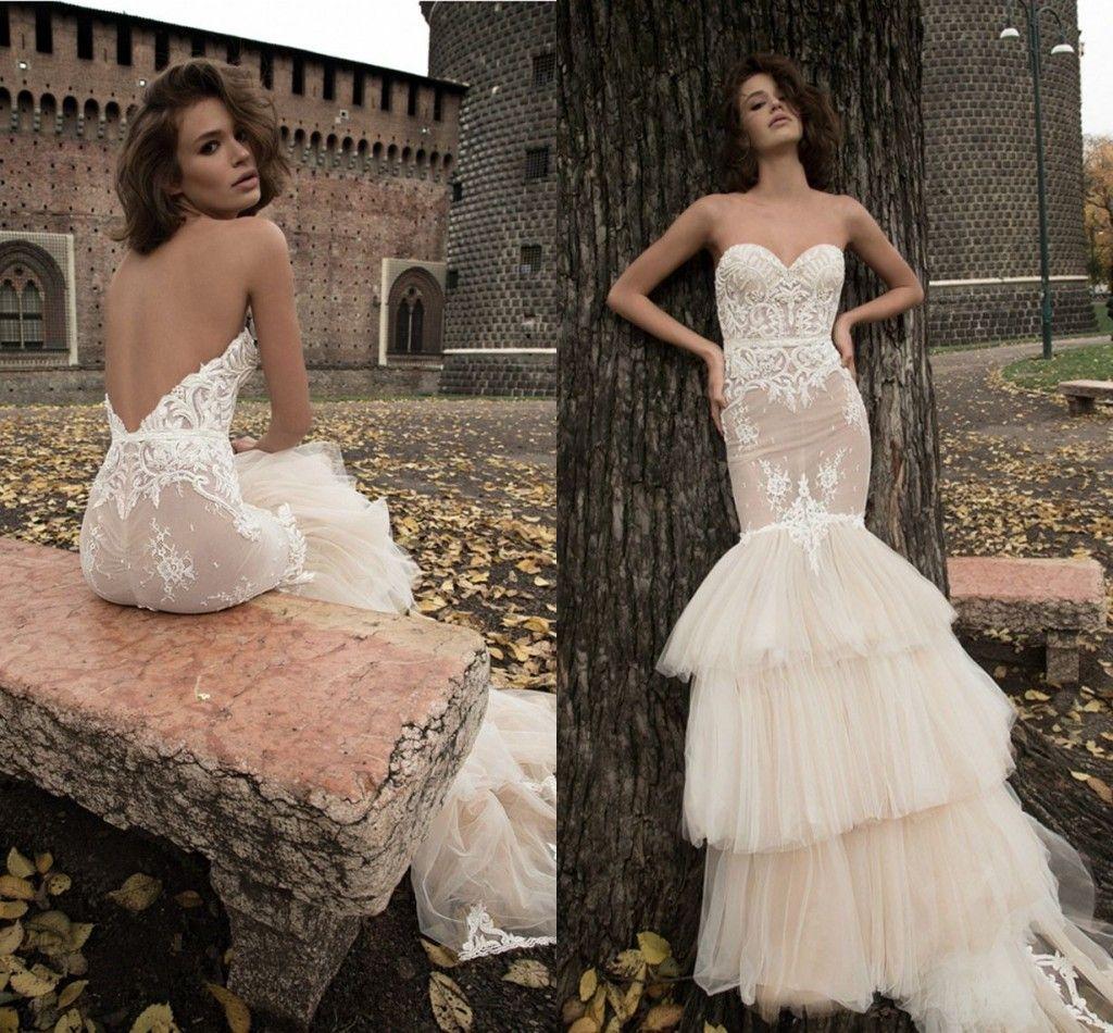 Sexy Puffy Mermaid Wedding Dresses Strapless Backless Bridal ...