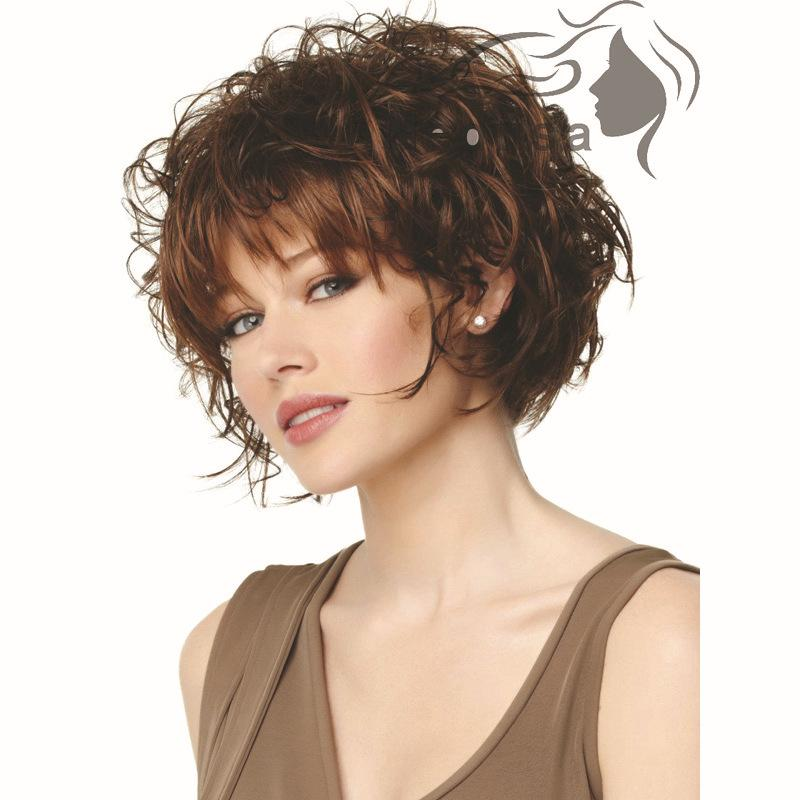Fabulous Female Classic Shag Hairstyle Wig With Bangs Bob Full Synthetic Short Hairstyles For Black Women Fulllsitofus
