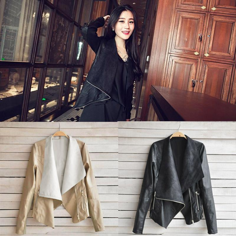 2016 Spring New Women Short Leather Jacket,Big Lapel Patchwork ...