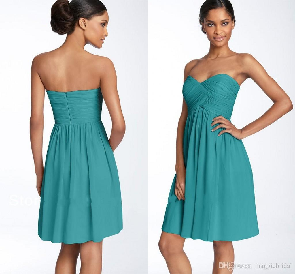 2015 Short Turquoise Bridesmaid Dresses Patterns Sexy Chiffon Knee ...