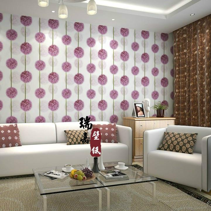 Korean purple dandelion rustic living room bedroom for Purple living room wallpaper