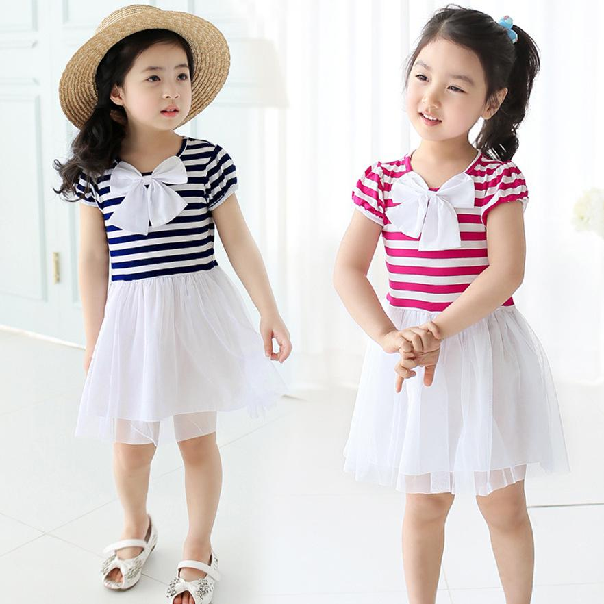 2015 Kids Girls Summer Clothes High Quality Children Girl Striped ...