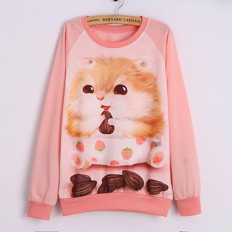 Women Streetwear Style Sweatshirts Cute Squirrel Printed ...