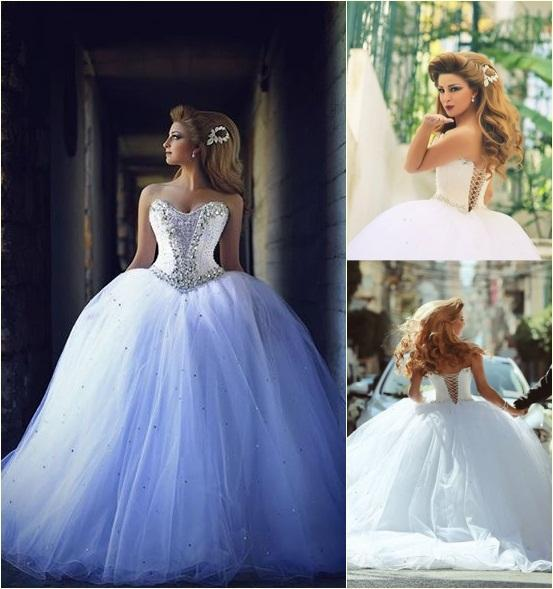 New Vintage Princess Ball Gown Wedding Dresses Beaded: 2015 Princess Ball Gown Wedding Dresses With Sweetheart
