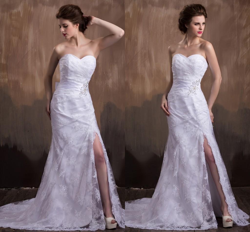 y Long Mermaid White Lace Wedding Dresses For Women