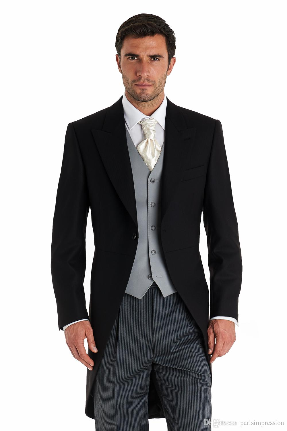 Black Men Tailcoat Gray Vest Wedding Suits For Men Men Suits Slim ...