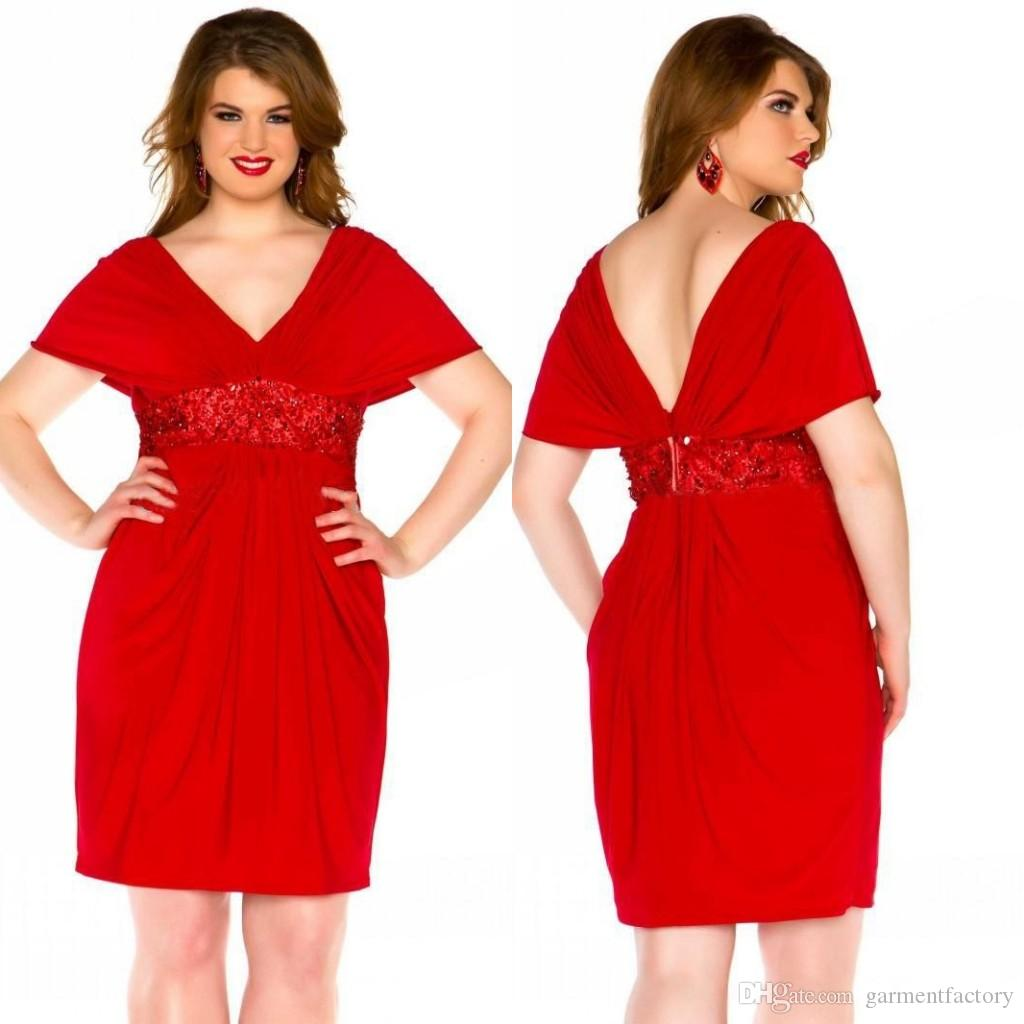 Charming Red Cocktail Dresses Plus Size 2015 V Neck Capped