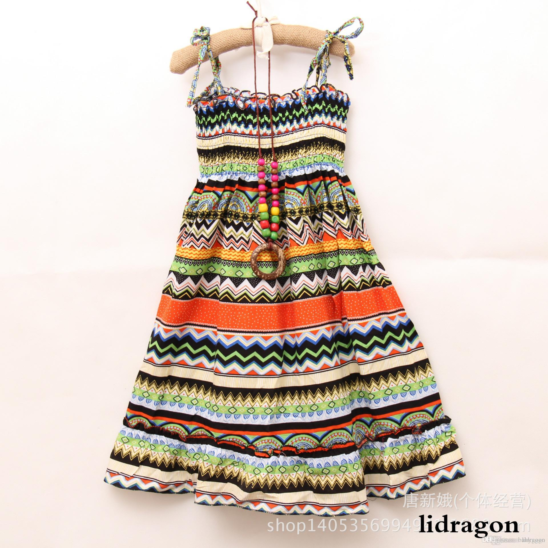 2017 2015 Girls Summer Beach Dress Kids Summer Long Bohemian Beach ...