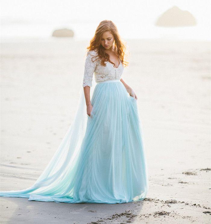 Hint of Blue Beach Wedding Dresses