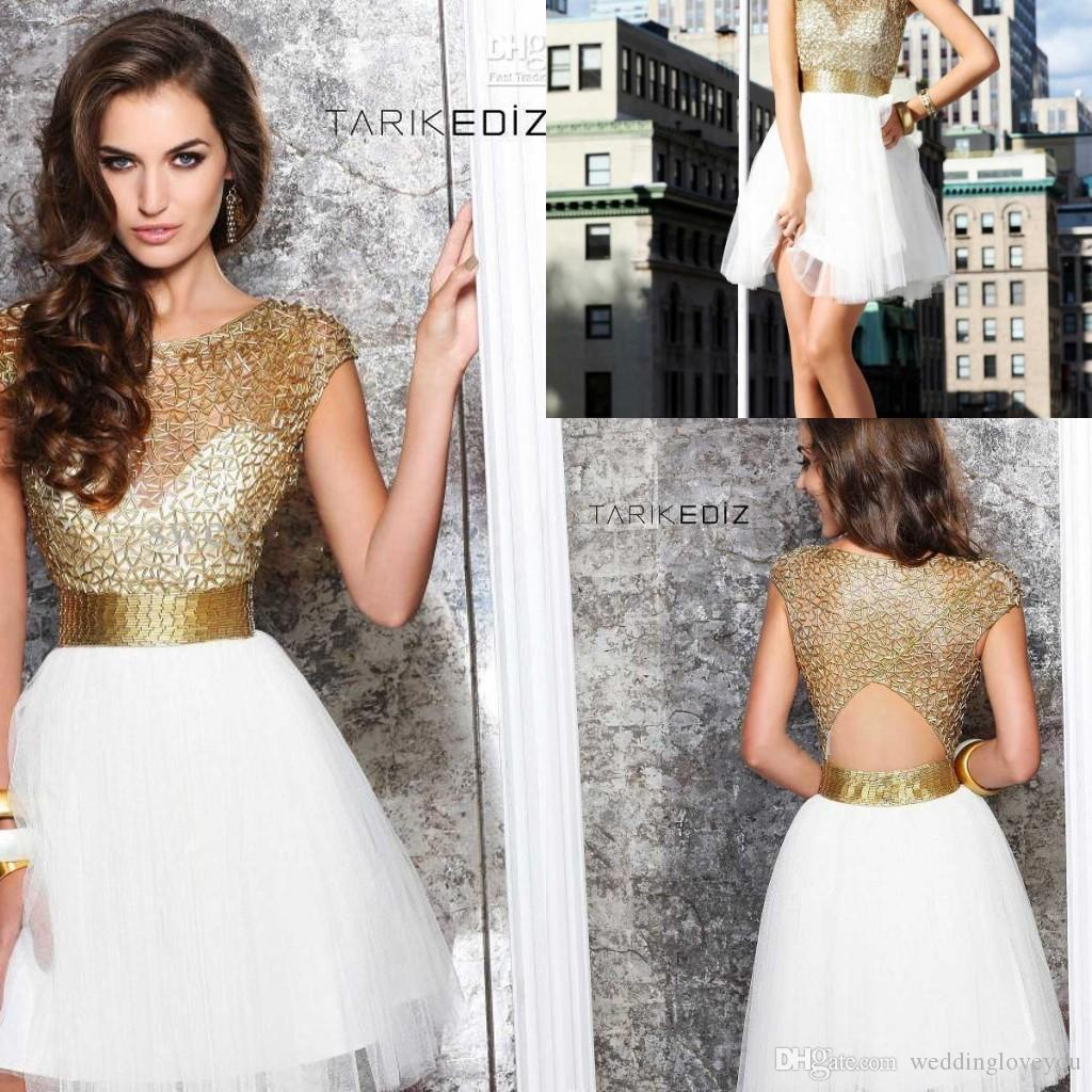 Short gold and black prom dresses