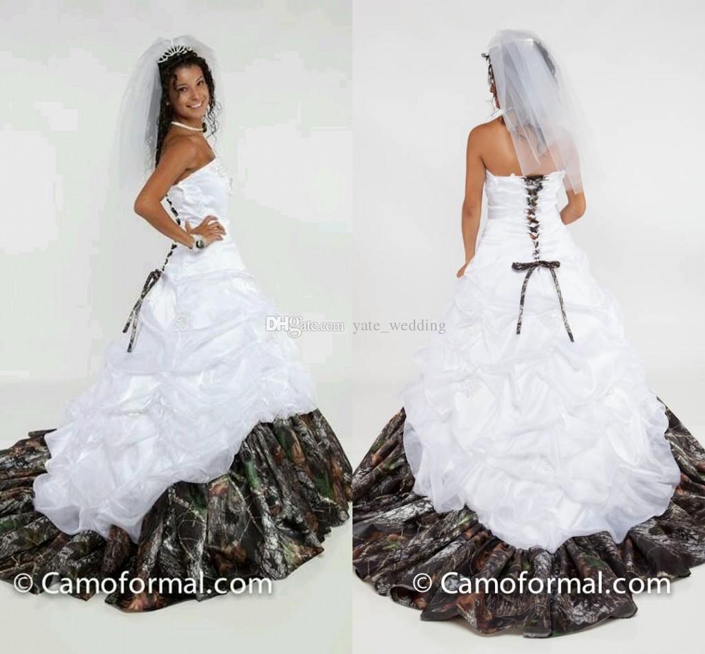 2015 spring camo wedding dress strapless satin custom made for Camo ribbon for wedding dress