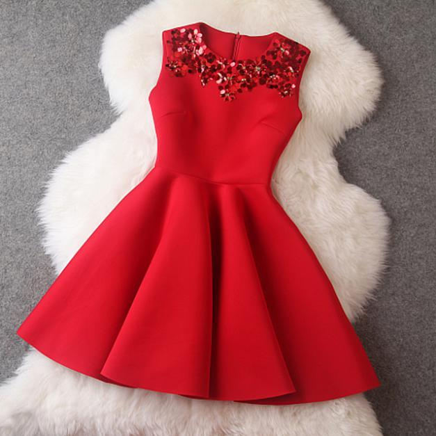 New Autumn 2015 Winter Dress Red Sleeveless Sequined Mini Dresses ...