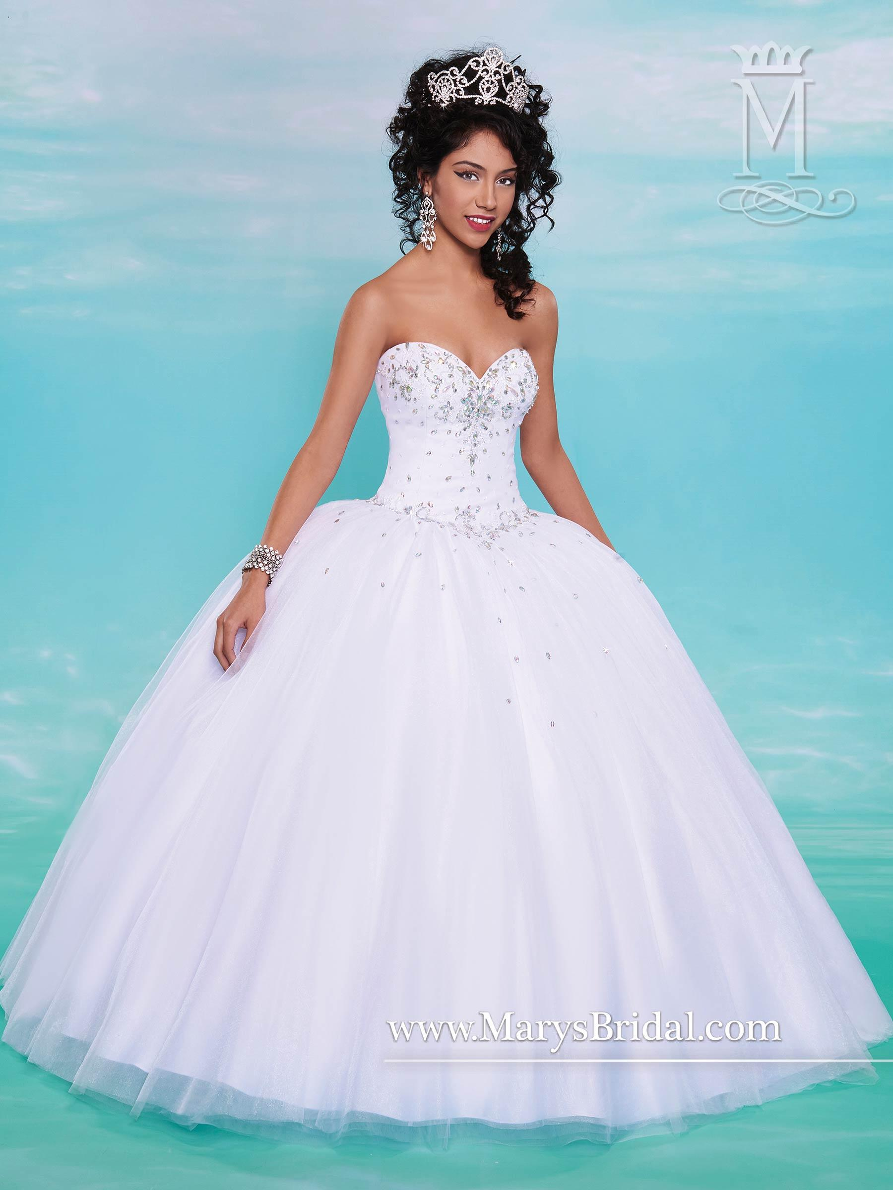 Mary S White Quinceanera Dresses 2015 Fall Sweetheart Neck