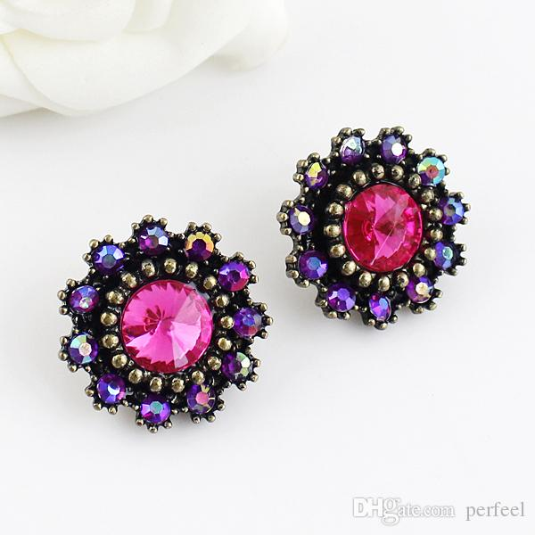 Min Order $ 5 New Coming Colorful Rhinestone Beads Décoration Stud Earrings Vent
