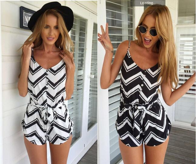 2015 Summer Fashion Jumpsuit Shorts Sexy Striped Suspenders Pattern Playsuit Hol