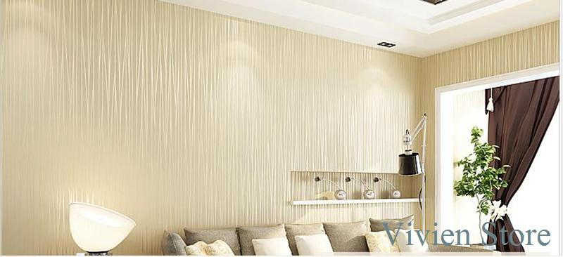 High quality solid plain striped non woven wallpaper new for Plain wallpaper for living room
