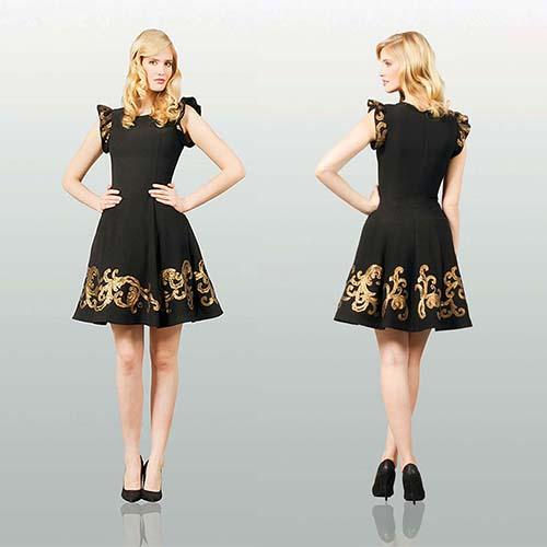 Black Gold Embroidery Elegant Cocktail Dress With Cascad Sleeve ...