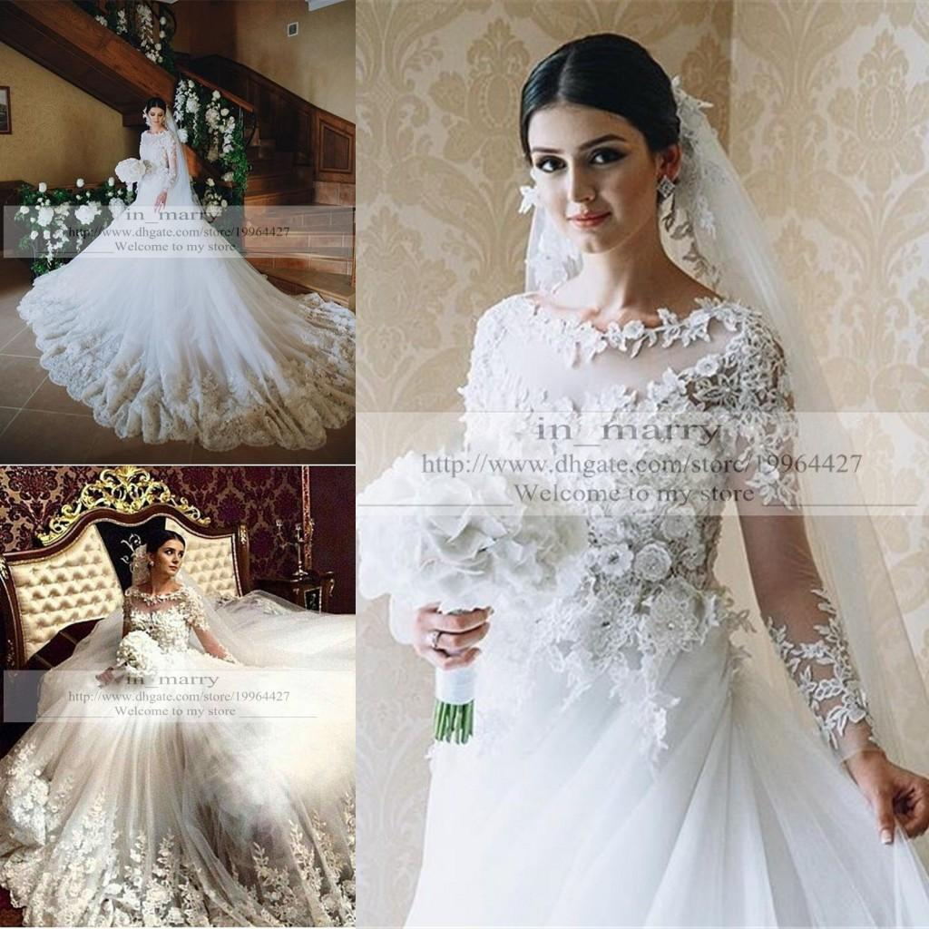 Discount victorian islamic 3d floral wedding dresses 2016 for Dhgate wedding dresses 2016