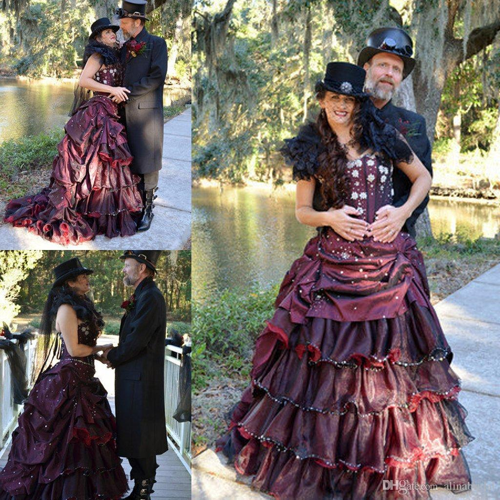 Steampunk Burgundy And Black Gothic Wedding Dresses 2015