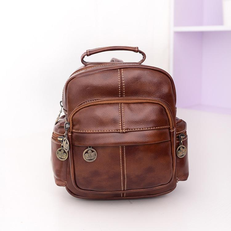 Vintage Brown Leather Backpacks Women Small School Bag Retro ...