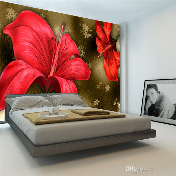 Vintage Red Lily Photo Wallpaper Luxury Giant Wall Mural Paintings Wallpaper  Bedroom Kids Room Decor Sofa TV Setting Wall Art Decoration 3D Wallpaper  Wall ...