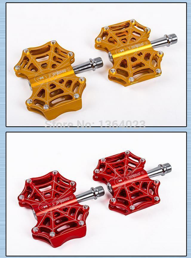 Free shipping newest Spiderman lightweight aluminum mountain bike pedals dual bearing Nuo molybdenum steel shaft