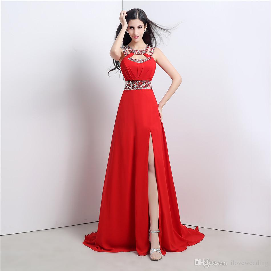 Under 100 In Stock Prom Dresses Red Chiffon Sequins Sexy Cheap ...