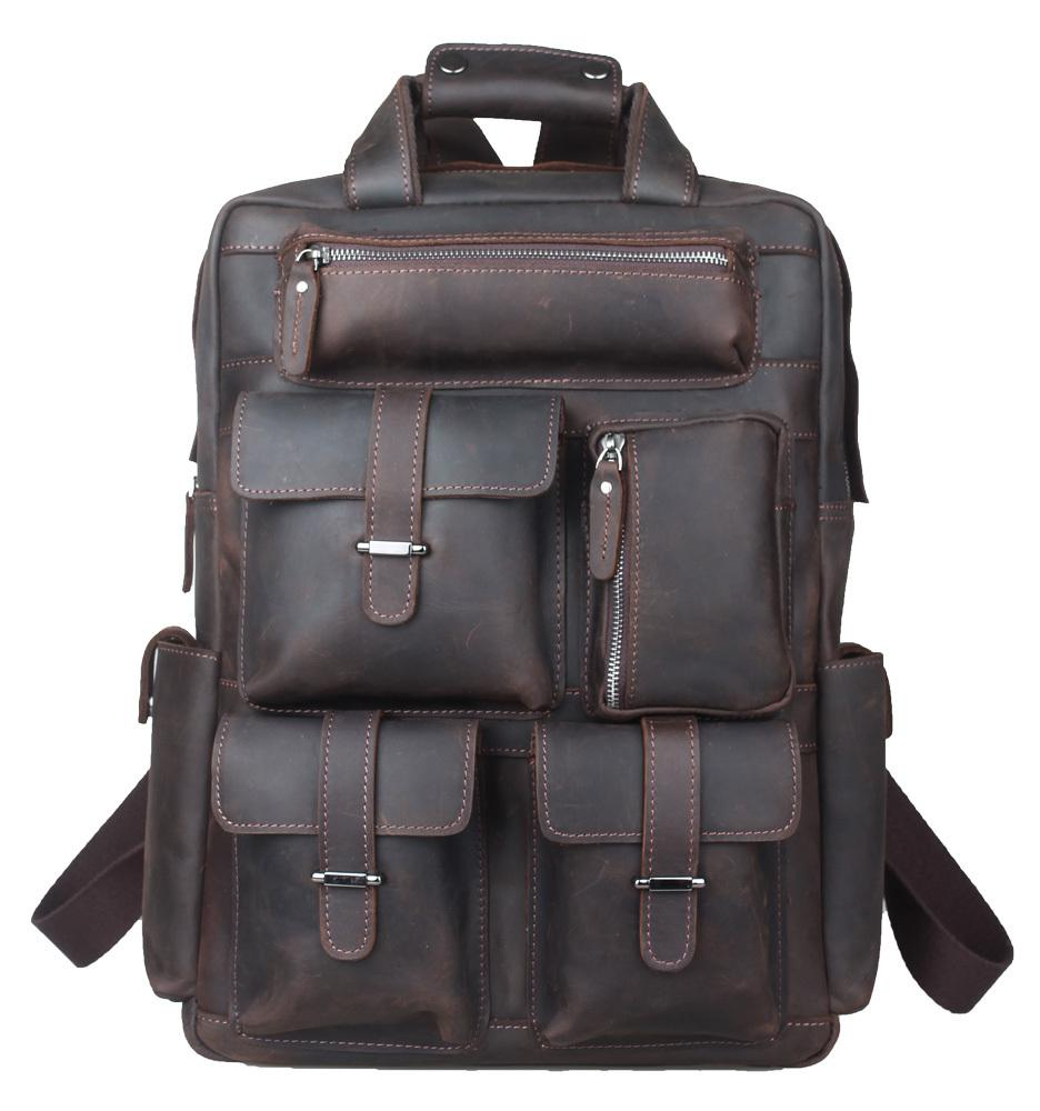 TIDING Weekender Bag, Crazy Horse Leather Backpacks For Camping ...