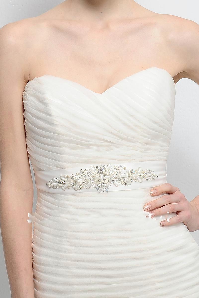 Online cheap hot sale wedding dress belt pearl beaded for Pearl belt for wedding dress