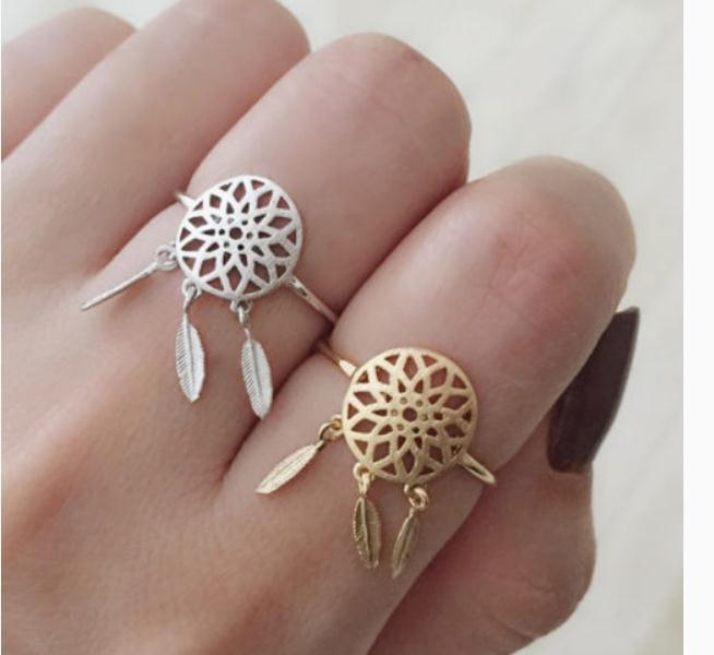 New Fashion Dreamcatcher Jewelry 18k Silver And Gold Plated Indian Dream Catchers Midi Finger