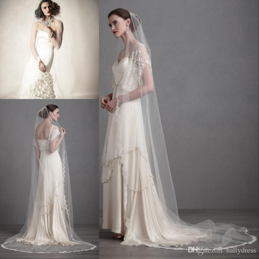Cheap Wedding Veil Lace Long Veils Tulle 2015 Bridal Veil In White Light Ivory And Ivory Cheap