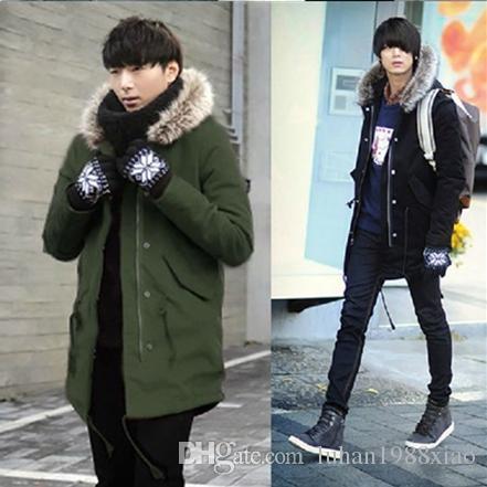 2017 Winter Casual Fur Collar Outwear Coats Street Style Man ...