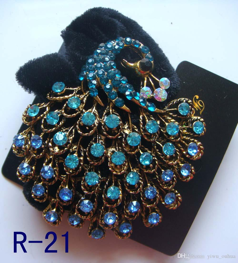Vintage hair accessory holder - Wholesale Vintage Hair Jewelry Pony Tails Holder Rhinestone Headbands Hair Accessories Free Shipping 12pcs Lot Mixed