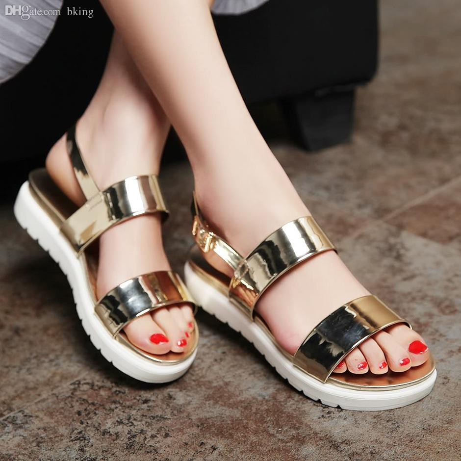 Silver sandals or shoes - Wholesale 2015 New Summer Neon Shoes Women Fashion Flat Sandals Girls Gold Silver Sandals Shoes Woman Bohemia Beach Shoes Female Silver Wedges Brown Wedges