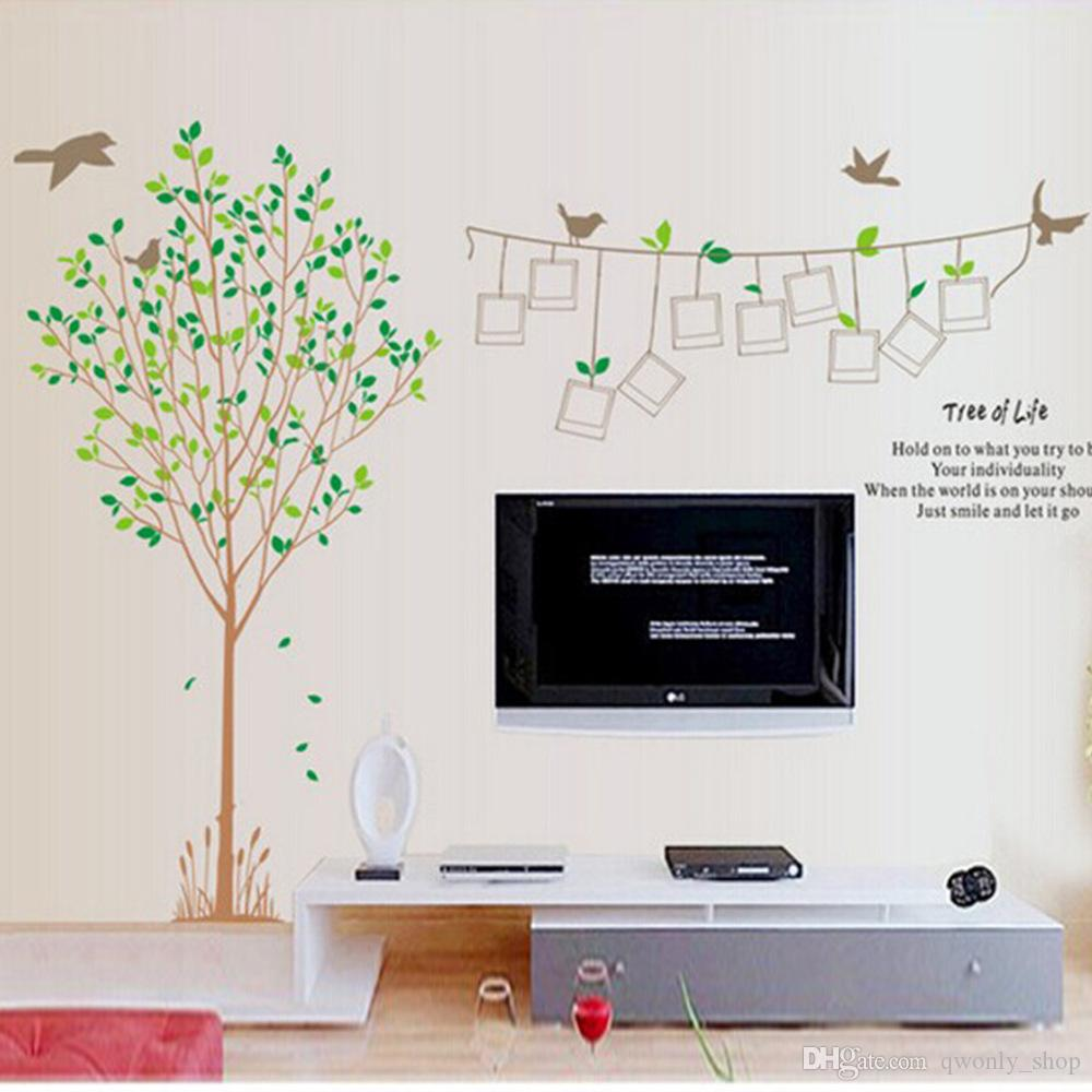 Big Size Photo Frame Memory Tree Of Life Wall Sticker Bird Photo - Diy wall decor birds