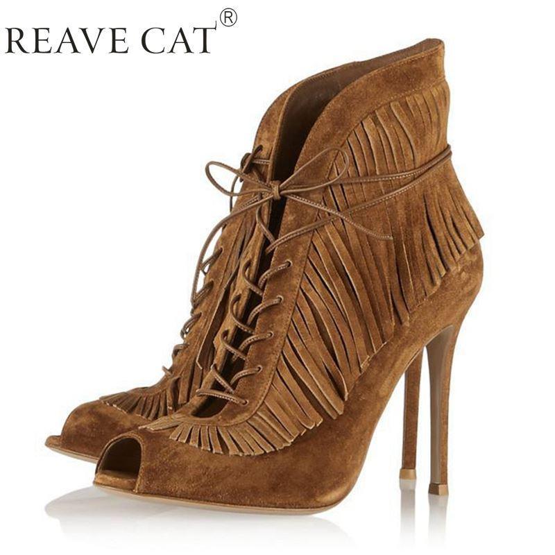 Summer Ankle Boots High Heel Fringe Boot Women Fashion Tassel ...