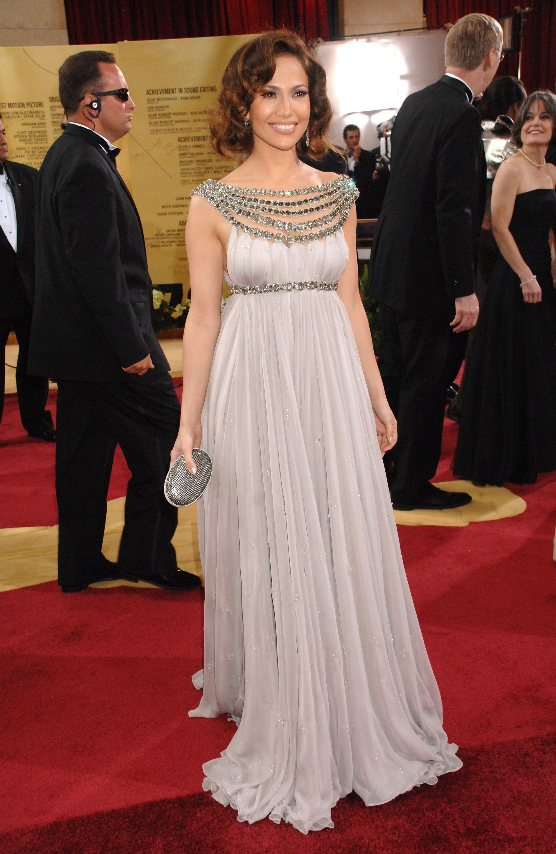 Jennifer Lopez Chiffon Evening Gowns A Line Crystal Beaded Empire ...