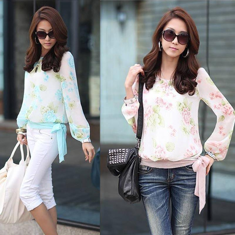 2015 Lady Women Casual Summer Blouses Shirt Floral Print Long ...