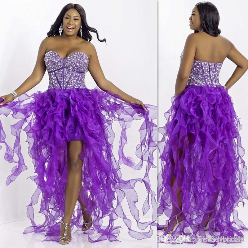 2015 Modest Purple Plus Size Prom Dresses Sweetheart Beaded ...