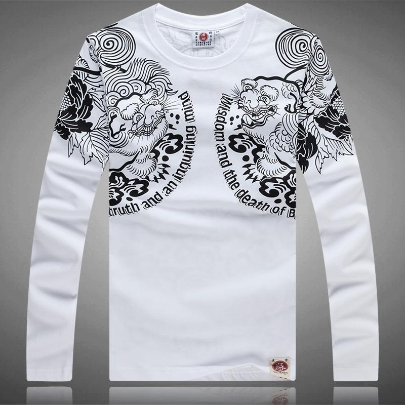2015 New Men's Printing T-Shirts Men Casual Floral Tee Long Sleeve ...