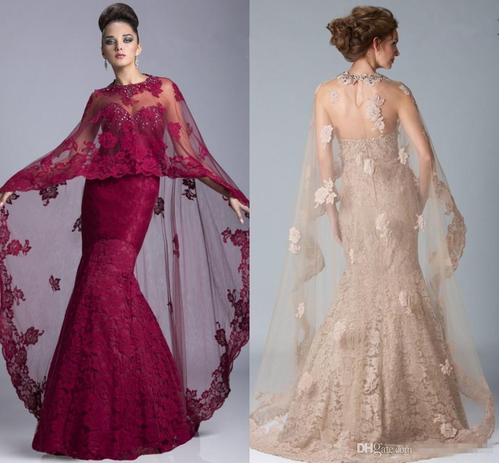 Mermaid Mother of The Bride Jacket Dresses With Sleeves Burgundy ...