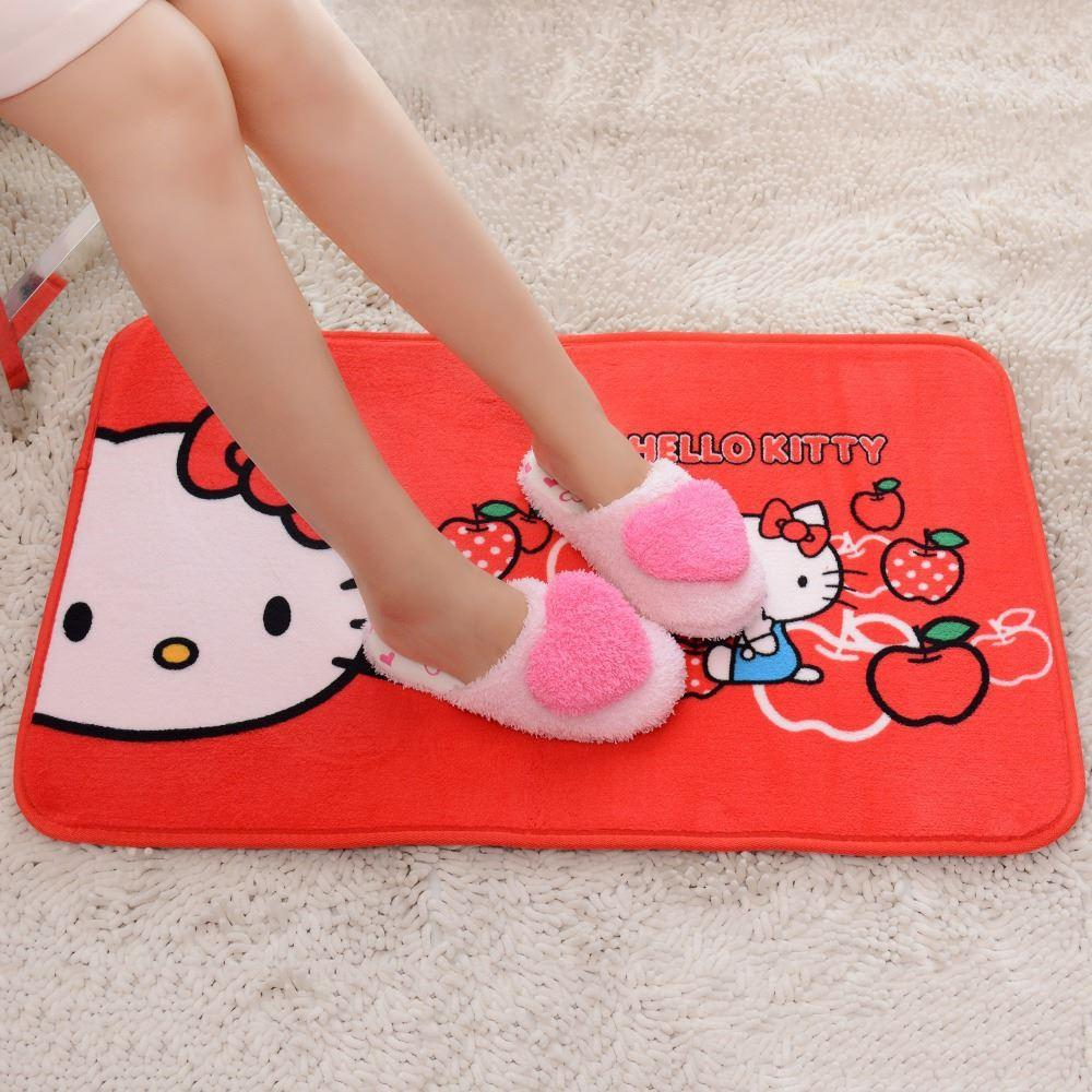 Cute red hello kitty plush cartoon anime kids bedroom area rugs ...